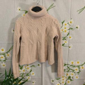 Blush pink cashmere turtleneck cropped sweater